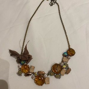 Brown and pink stone necklace